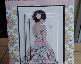 Greeting Card Lady in Floral Dress