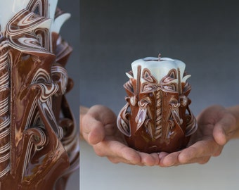 Mothers Day Gift For Her - Carved candle - Brown candle - Small candle