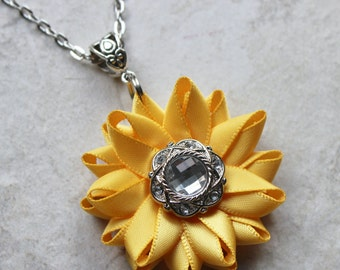 Yellow Necklace, Sunflower Necklace, Golden Yellow Necklace, Sunflower Jewelry, Silver and Yellow Sunflower Necklaces, Gold Necklace