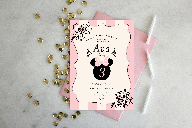 Printable birthday party invitation minnie mouse stopboris Choice Image