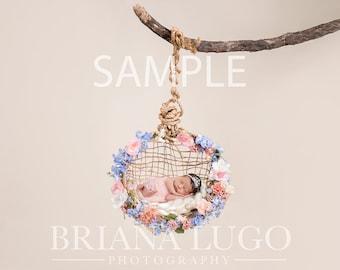 Digital floral newborn swing