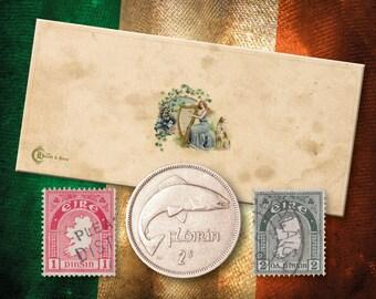 Vintage Irish Florin (plus 2 Stamps)