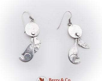 Howling Wolf Figural Dangle Earrings Sterling Silver