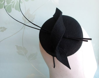 Black Pillbox Hat - Pillbox Hat, Perch Hat, Felt Hat, Race Hat, Wedding Hat, Formal Hat, Pill box hat, Vintage