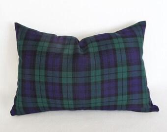 Blue Lumbar Pillows, Blue Plaid Pillow, Housewarming Gift Idea for Him, Blue Green Pillow, Tartan Plaid,  Rustic Winter Decor, 12x18, 14x20