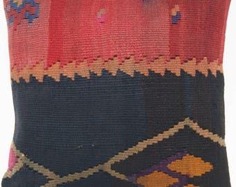 """vintage kilim pillow  turkish kilim rug hand woven square kelim wool rug 16""""x16"""" A1667"""