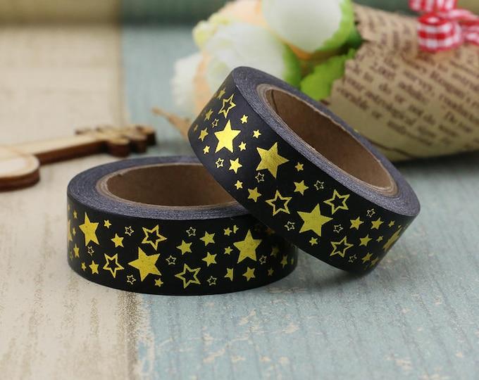 Black Gold Foil Star Washi Tape - Foil washi Tape -  Star Washi Tape - Paper Tape - Planner Washi Tape - Washi - Decorative Tape