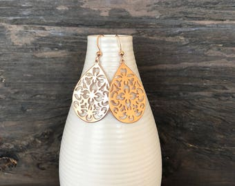 Rose gold filigree earrings, rose gold earrings
