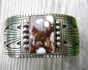 Navajo Cuff-Wild Horse Turquoise signed Charlie John