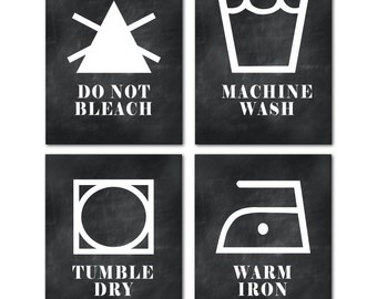 Laundry Room CANVAS Wall Art - Wall Decor - Laundry Decor - Laundry Symbols - Room Decor - Machine wash - Tumble dry - Do not bleach - Iron