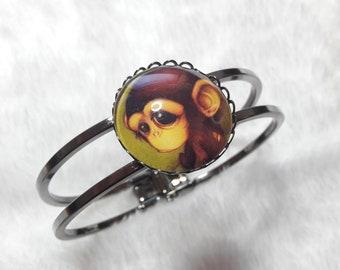 Dark grey monkey Bangle Bracelet