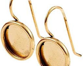 Pair of Blank Bezel Earrings with 11mm Bezels, 24K Gold Plated, Antiqued, High Quality Earrings Made in USA, #N162