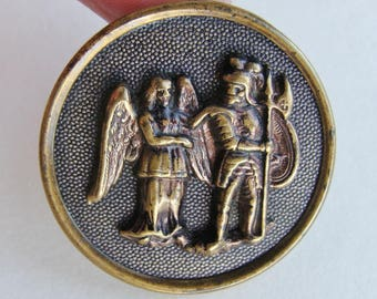 Large Antique Guardian Angel and Warrior Metal Picture Button
