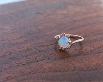 Opal and pink gold ring, delicate diamond and opal ring, modern antique opal ring, opal and diamond ring