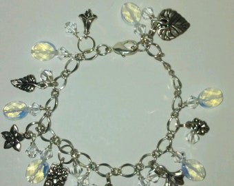 Silver Charm Bracelet With  Opal and Swarovski Crystals 7 1/2 Inches