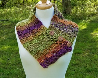 Crochet scarf handmade, Buttoned scarf, Fashion scarf, Multicolor scarf, Birthday gift, Mothers Day gift, Christmas gift, Green scarf