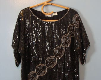 Vintage Sequin Top 70's Disco Glam Silk Flashy Fabulous 1970's Beaded Circles Black Silver Jasmine Size Medium India Boxy Silhouette Party