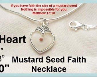 Religious Jewelry Heart Mustard Seed Necklace Sterling Silver, Vocation Inspiration Gift, Confirmation, Women and Girl Sizes