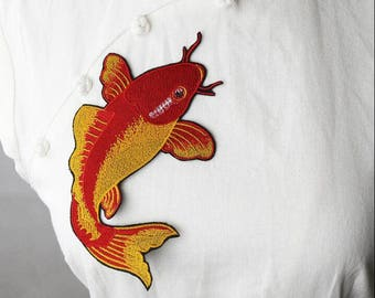 Red Iron on Embroidered Patch Koi Patch Large Back Patch Koi Embroidered Patch Japanese Patch Black Koi Fish Patch Aesthetic Patch