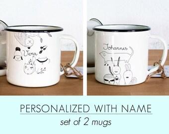 2 Custom enamel mugs best friends Couple camping mug - travel mug emaille illustrated Mug camp mugs Retro Picnic - Travel Mug - Coffee - Tea