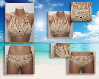 Crochet beige bikini, women's swimwear 2017, Summer trends, choice color bikini