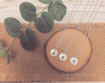 Sterling Silver 12mm Disc Handstamped Initial Necklace   Bridesmaid Gift   Wedding   Gift