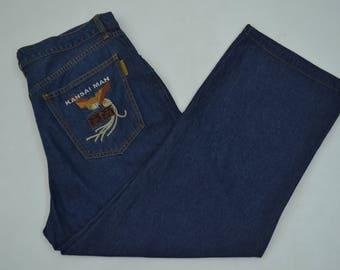 Kansai Man Jeans Kansai Man Denim Pants Kansai Man Casual Embroidered Jeans Made in Japan 36x26.5