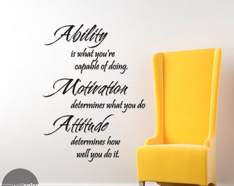 Inspirational Phrase Ability Motivation Attitude Vinyl Wall Decal Sticker
