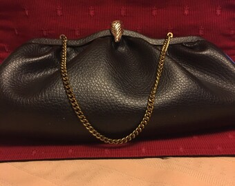 Vintage Brown Leather Evening Bag