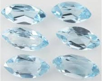 5 pieces sky blue topaz  faceted marquise shape   cabochon gemstone