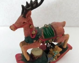 Vintage Miniature plastic Rocking Reindeer ornament / Christmas / Miniature / holiday / figurine / Brown / green / red / decoration / tree