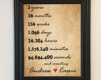 3 Year Anniversary Gift, For Boyfriend, For Husband, 3rd Anniversary Gift, For Fiance, Frame Included, 3 Years Together, 3 Years Dating