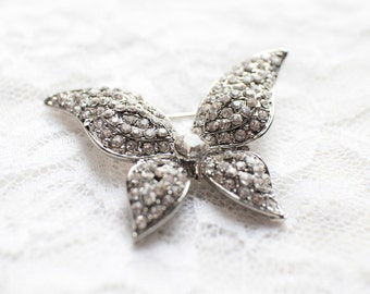 Rhinestone Butterfly Brooch Silver Metal Base with Pin M49 - Embellishment Brooch Bouquet/Jewelry/Bridal Wedding Accessories/Cake Brooch