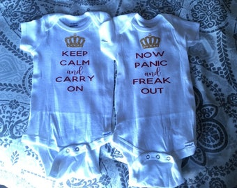 Keep Calm vs Now Panic Baby Bodysuits for Twins