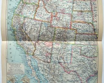 Original 1931 German Map of The United States - Western Half. Vintage