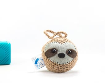 Cute sloth, sloth, car accessory, sloth car decor, car mirror hanging, crochet sloth, sloth decoration, amigurumi sloth, stuffed sloth
