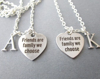 2 Friends are Family we Choose, Initial Necklaces/ Friendship Necklace, Best Friend Necklace, Best Friend Gift, Best Friend jewelry