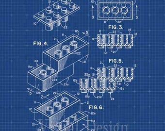Lego Building Blocks Patent Print Lego Art Print