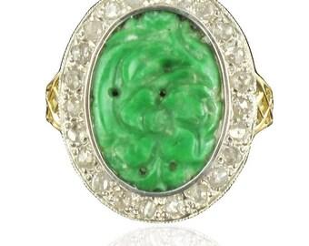 Bague jade diamants Or jaune 18K Classique