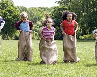 Premium Natural Burlap Potato Sack Race Game Jute Bags - Heavy Duty 10oz - Extra Strong Stitching - Adult 24x40 & Kids 22x36 Sizes