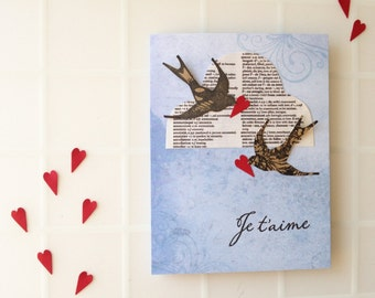 Handmade Greeting Card - Birds - Cloud - I Love You - Wedding - Engagement - Anniversary - Valentine's Day - one of a kind