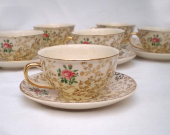 Villeroy & Boch golden rose cup and saucer set of six.