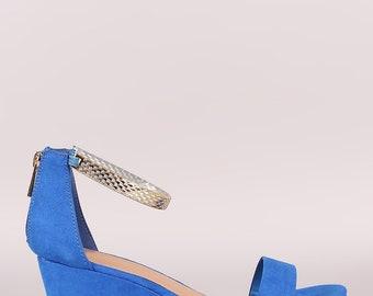 Suede Ankle Strap Platform Wedge