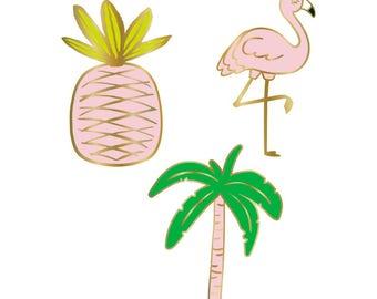 Palm Tree Flamingo Pineapple Lapel Pins