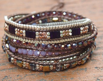 5 times Wrap Bracelet, Purple Crystal beaded mix, Boho bracelet, Beadwork bracelet