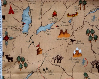 Eagle Peak Trail Map Alexander Henry fabric FQ or more