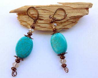 Faux turquoise and antique copper earrings