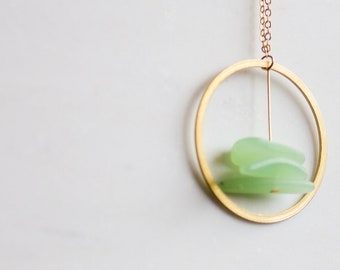 Circle Necklace,  sea glass jewelry, Brass Ring Necklace, sea glass necklace, long statement necklace, long pendant necklace, green necklace