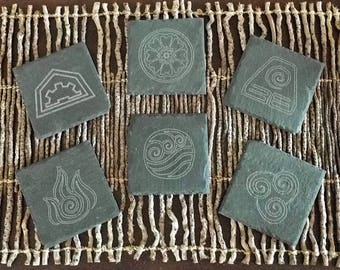 Avatar Ang/Korra Laser Cut Slate Coaster (Set of 2, 4 or 6)