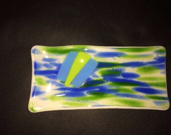 Fused Glass Anything Dish, spring colors,  PL 29, anything dish, trinkets, sushi, bread, catchall tray